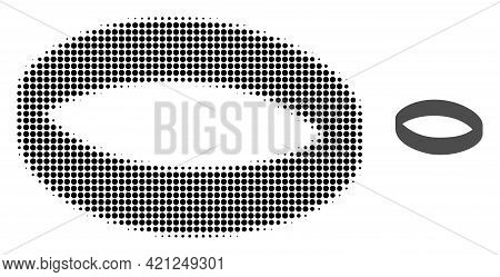 Gold Ring Halftone Dot Icon Illustration. Halftone Array Contains Circle Points. Vector Illustration
