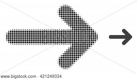 Right Arrow Halftone Dotted Icon Illustration. Halftone Array Contains Circle Elements. Vector Illus