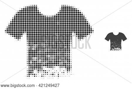 Ragged T-shirt Halftone Dotted Icon Illustration. Halftone Array Contains Circle Dots. Vector Illust