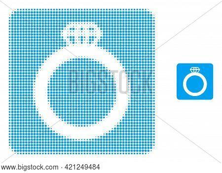 Gem Ring Halftone Dot Icon Illustration. Halftone Pattern Contains Circle Dots. Vector Illustration