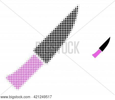 Knife Halftone Dot Icon Illustration. Halftone Array Contains Round Points. Vector Illustration Of K