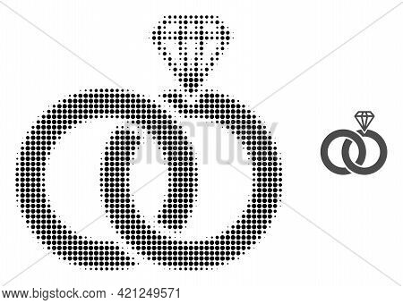 Jewelry Wedding Rings Halftone Dot Icon Illustration. Halftone Pattern Contains Circle Points. Vecto