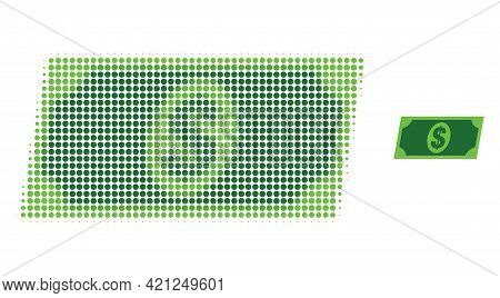 Dollar Banknote Halftone Dot Icon Illustration. Halftone Pattern Contains Circle Pixels. Vector Illu