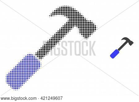 Hammer Halftone Dotted Icon Illustration. Halftone Pattern Contains Circle Points. Vector Illustrati