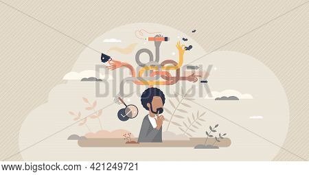 Multitasking Mind Skill And Busy Daily Tasks Management Tiny Person Concept. Schedule Strategy To Do