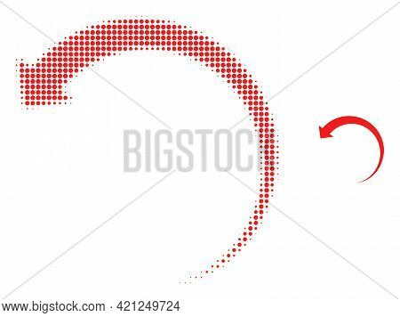 Rotate Backward Halftone Dotted Icon Illustration. Halftone Pattern Contains Round Dots. Vector Illu