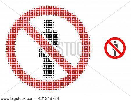 Forbidden Man Halftone Dotted Icon Illustration. Halftone Array Contains Circle Dots. Vector Illustr