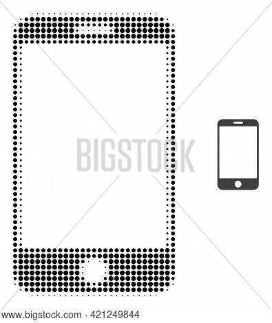 Smartphone Halftone Dotted Icon Illustration. Halftone Pattern Contains Round Elements. Vector Illus
