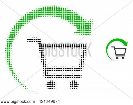 Repeat Purchase Order Halftone Dot Icon Illustration. Halftone Pattern Contains Round Dots. Vector I