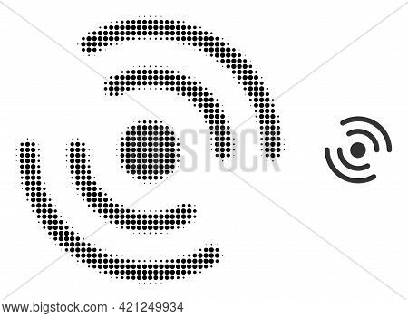 Propeller Rotation Halftone Dot Icon Illustration. Halftone Array Contains Circle Pixels. Vector Ill