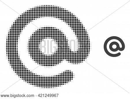 Email Symbol Halftone Dot Icon Illustration. Halftone Array Contains Round Pixels. Vector Illustrati