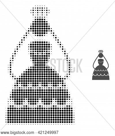 Crowned Bride Halftone Dotted Icon Illustration. Halftone Pattern Contains Round Points. Vector Illu