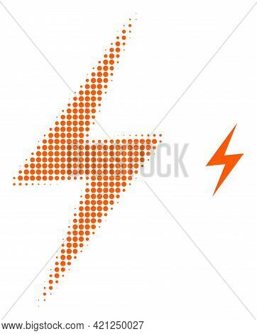 Electric Strike Halftone Dot Icon Illustration. Halftone Pattern Contains Round Points. Vector Illus