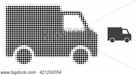 Van Car Halftone Dotted Icon Illustration. Halftone Array Contains Circle Points. Vector Illustratio