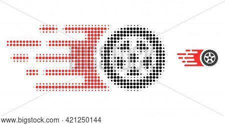 Tire Wheel Halftone Dotted Icon Illustration. Halftone Array Contains Circle Points. Vector Illustra