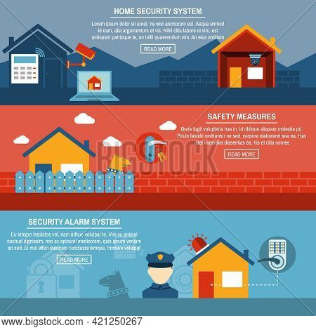 Home Security Wireless Alarm System Installation Company 3 Horizontal Interactive Flat Homepage Bann