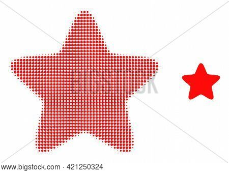 Red Star Halftone Dotted Icon Illustration. Halftone Array Contains Circle Elements. Vector Illustra