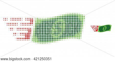 Waving Dollar Banknote Halftone Dot Icon Illustration. Halftone Pattern Contains Round Points. Vecto