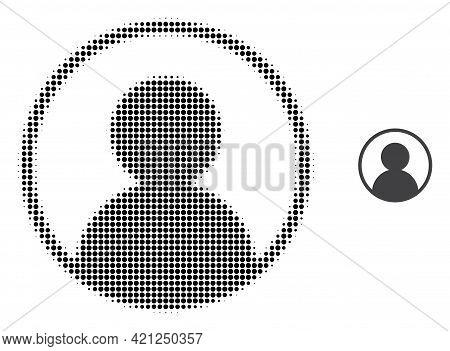 User Portrait Halftone Dot Icon Illustration. Halftone Array Contains Circle Elements. Vector Illust