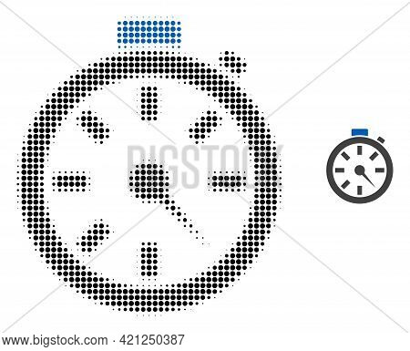 Timer Halftone Dotted Icon Illustration. Halftone Pattern Contains Circle Points. Vector Illustratio