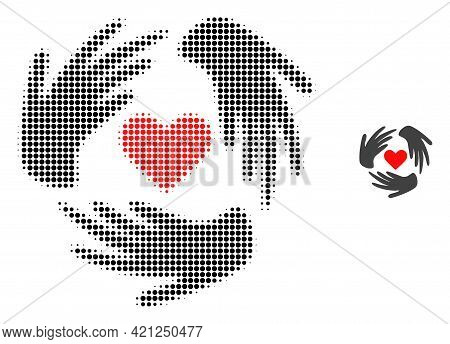 Lovely Craft Hands Halftone Dotted Icon Illustration. Halftone Array Contains Circle Dots. Vector Il