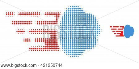 Gas Cloud Halftone Dot Icon Illustration. Halftone Array Contains Round Dots. Vector Illustration Of