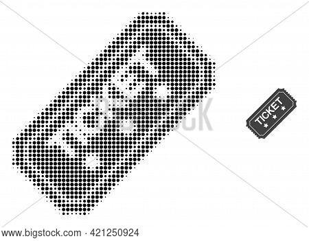 Ticket Halftone Dot Icon Illustration. Halftone Array Contains Circle Elements. Vector Illustration