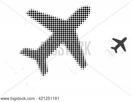 Flying Air Liner Halftone Dot Icon Illustration. Halftone Pattern Contains Round Points. Vector Illu