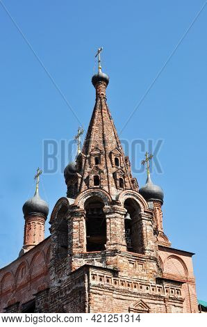 The Top Of The Bell Tower With A Dome And A Cross. Novospassky Monastery, Moscow. Domes Of The Cathe