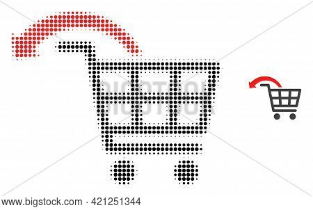 Undo Shopping Order Halftone Dotted Icon Illustration. Halftone Array Contains Round Pixels. Vector