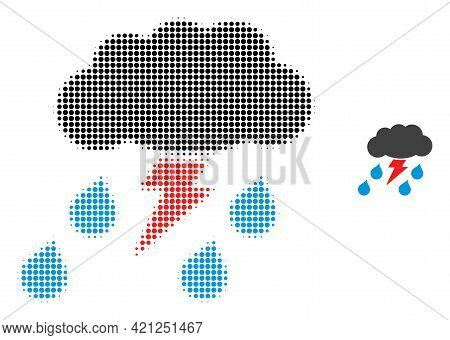 Thunderstorm Halftone Dotted Icon Illustration. Halftone Pattern Contains Round Elements. Vector Ill