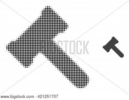 Hammer Halftone Dotted Icon Illustration. Halftone Pattern Contains Round Points. Vector Illustratio