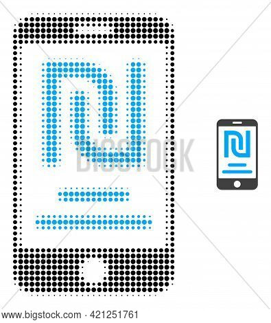 Shekel Mobile Account Halftone Dotted Icon Illustration. Halftone Array Contains Circle Elements. Ve