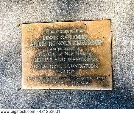 Inscription To Lewis Carroll's Alice In Wonderland Monument For Margarita Delacorte In Central Park,