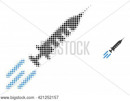 Express Vaccine Halftone Dot Icon Illustration. Halftone Pattern Contains Circle Points. Vector Illu