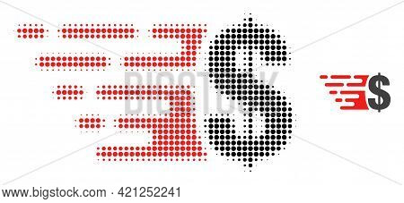 Dollar Halftone Dot Icon Illustration. Halftone Array Contains Round Points. Vector Illustration Of