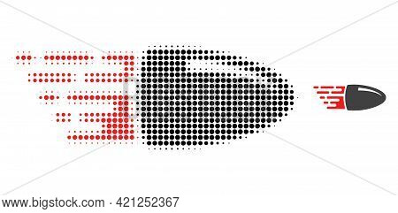 Flying Bullet Halftone Dotted Icon Illustration. Halftone Pattern Contains Round Points. Vector Illu