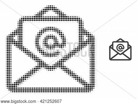 Open Email Halftone Dot Icon Illustration. Halftone Array Contains Round Elements. Vector Illustrati