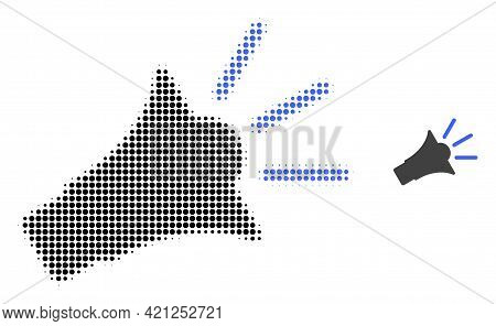 Sound Speaker Halftone Dot Icon Illustration. Halftone Pattern Contains Round Pixels. Vector Illustr
