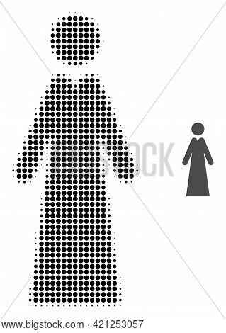 Lady Halftone Dotted Icon Illustration. Halftone Array Contains Circle Dots. Vector Illustration Of