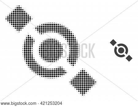 Joint Node Halftone Dot Icon Illustration. Halftone Array Contains Circle Pixels. Vector Illustratio