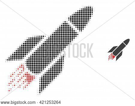 Rocket Halftone Dotted Icon Illustration. Halftone Array Contains Circle Points. Vector Illustration