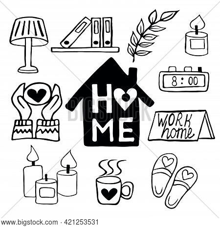 Set Of Vector Hand-drawn Doodle Home Elements About A Cozy Home Working At Home.  Protection Against