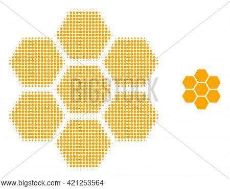 Honeycombs Halftone Dot Icon Illustration. Halftone Pattern Contains Round Points. Vector Illustrati