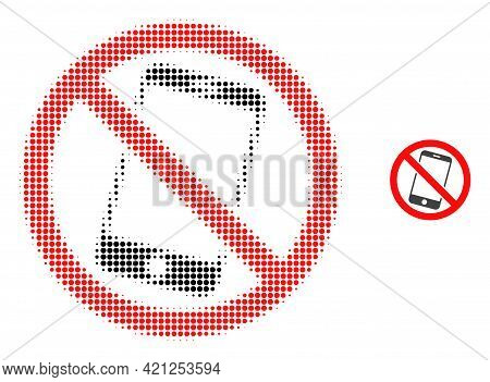 Forbidden Smartphone Halftone Dotted Icon Illustration. Halftone Pattern Contains Round Dots. Vector