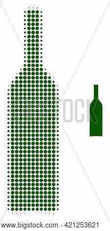 Wine Bottle Halftone Dotted Icon Illustration. Halftone Array Contains Circle Pixels. Vector Illustr
