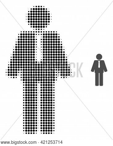 Groom Halftone Dotted Icon Illustration. Halftone Array Contains Round Points. Vector Illustration O