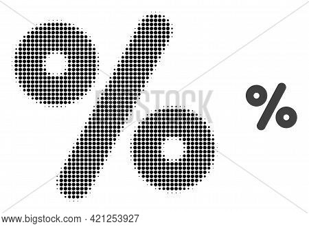 Percent Halftone Dotted Icon Illustration. Halftone Array Contains Circle Elements. Vector Illustrat