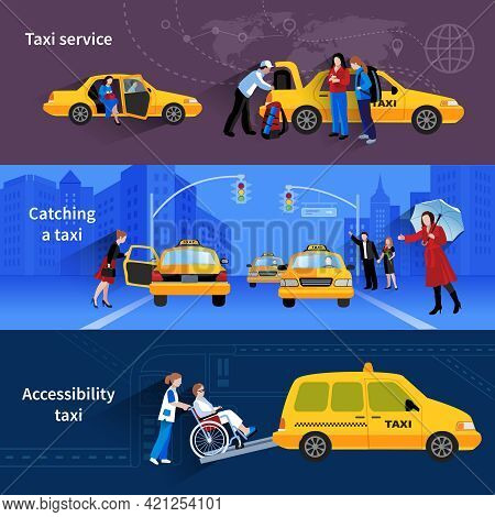 Banners With Scenes Of Taxi Service Catching Taxi And Accessibility Taxi Flat Vector Illustration