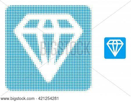 Diamond Halftone Dot Icon Illustration. Halftone Array Contains Circle Pixels. Vector Illustration O